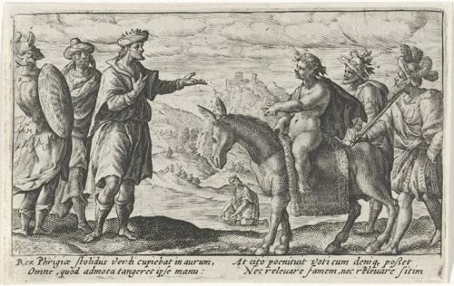 Bacchus honoreert de wens van koning Midas, Crispijn van de Passe (I), Johannes Posthius, 1602 - 1607  gravure, h 81mm × b 129mm.