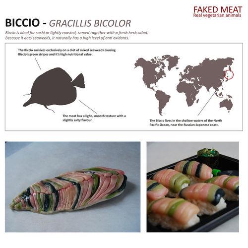 Beeld uit het project Faked Meat waarbij vleesvervangers op eigen wijze vormgegeven werden en een historie kregen foto: Kenji Masunaga