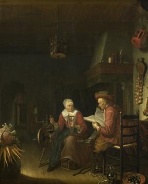 Binnenhuis met lezende man en haspelende vrouw, Domenicus van Tol, 1660 - 1676, Beeld: Rijksstudio