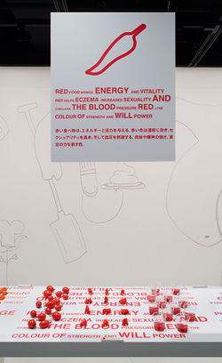 Beeld van het project colour food, waarbij eten werd benaderd middels kleur. foto: Kenji Masunaga