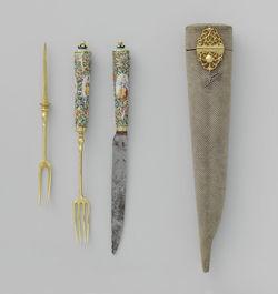 Een mes en vork in foedraal van roggeleer, anoniem, ca. 1650, beeld: Rijksstudio